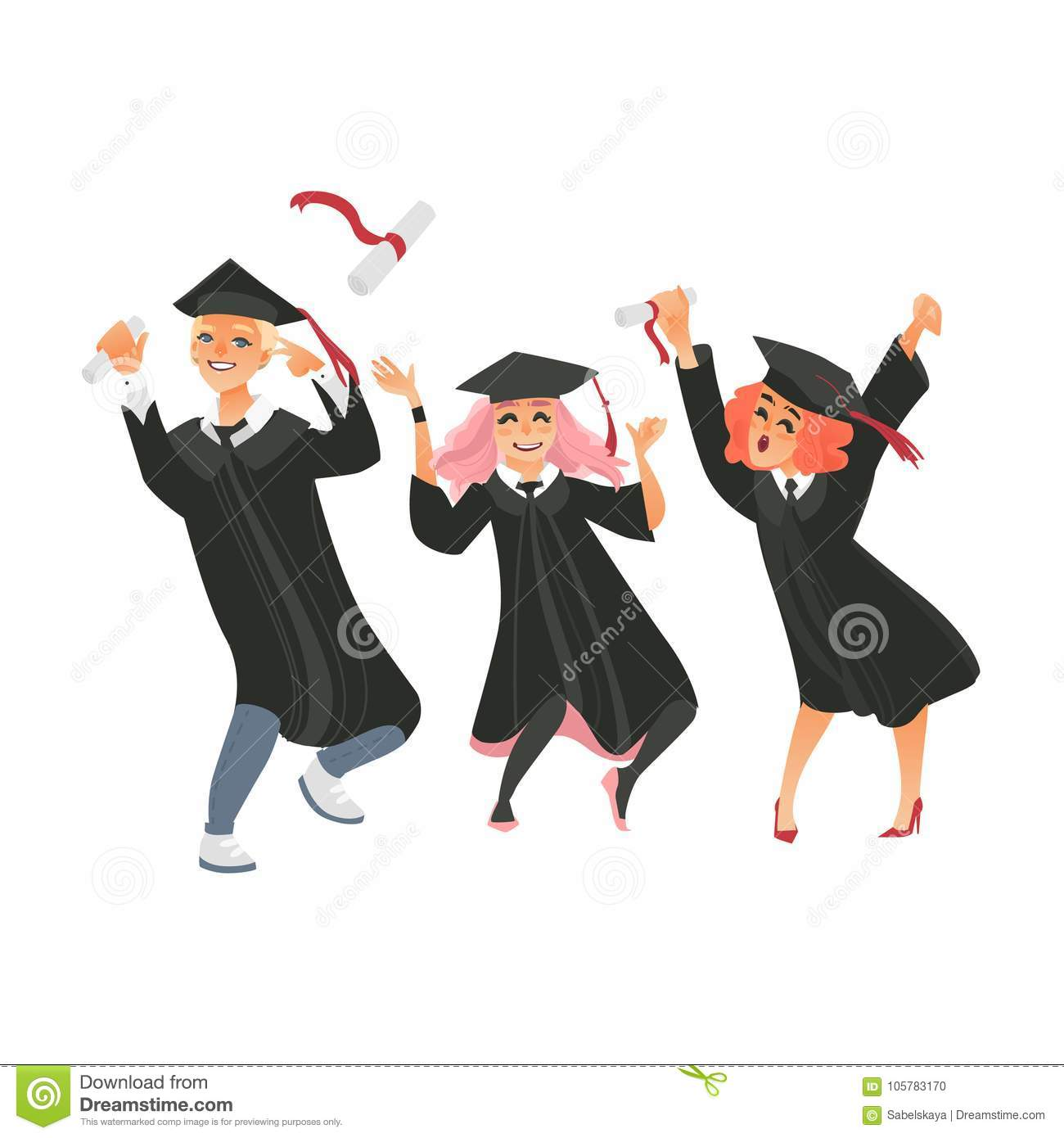 Group Of Three College Graduates In Graduation Cap And Gown Throwing Diplomas Up Dancing From Happiness Flat Vector Illustration Isolated On White