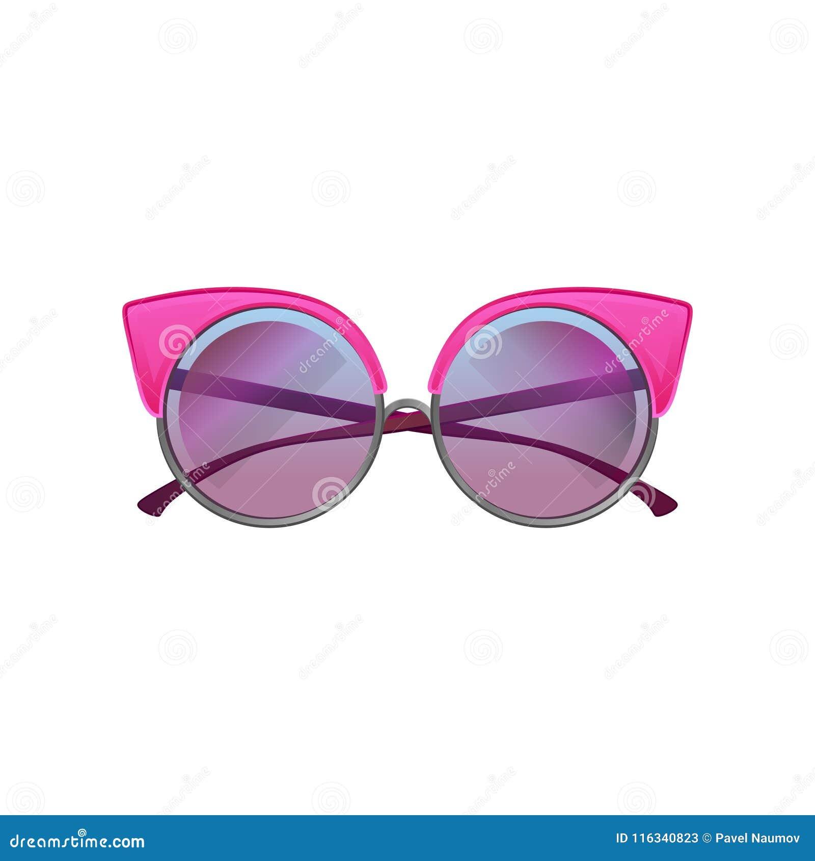 Gafas De Sol Redondas Con Las Lentes Rosadas De La Pendiente Del ...