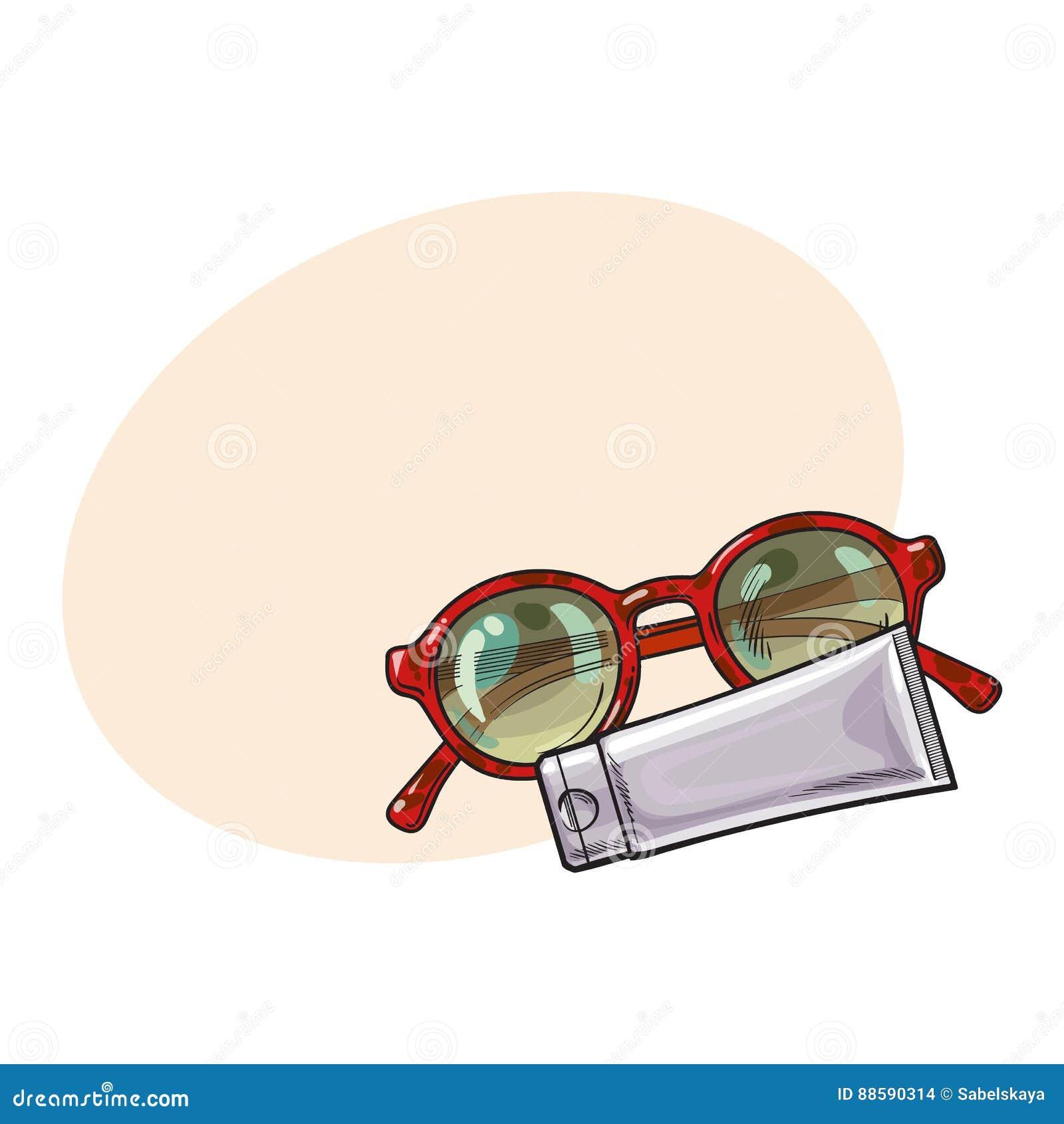Gafas De Sol Redondas En La Loción Plástica Del Marco Y Del ...