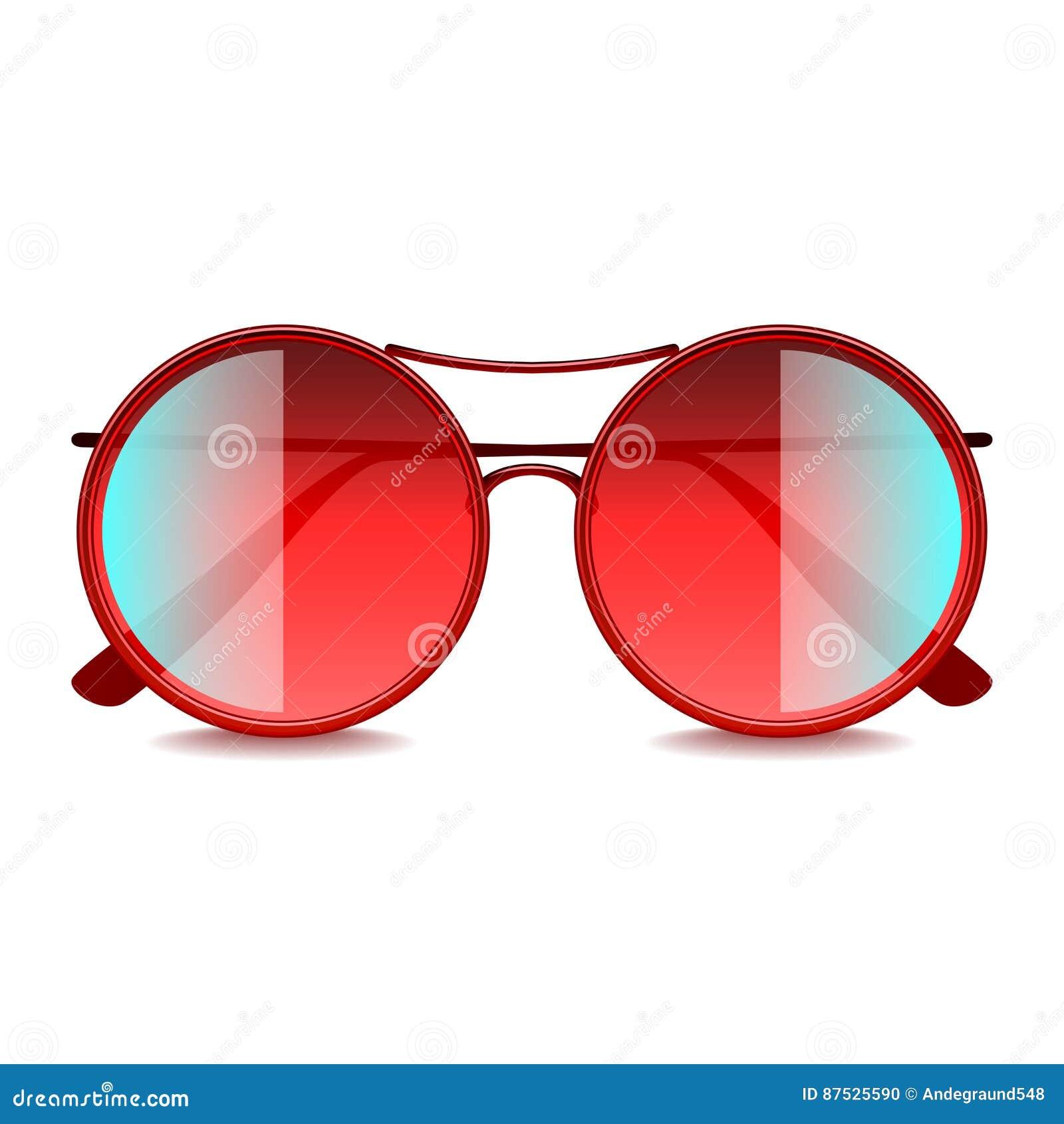 Gafas De Sol Rojas Redondas Aisladas En El Vector Blanco Ilustración ...