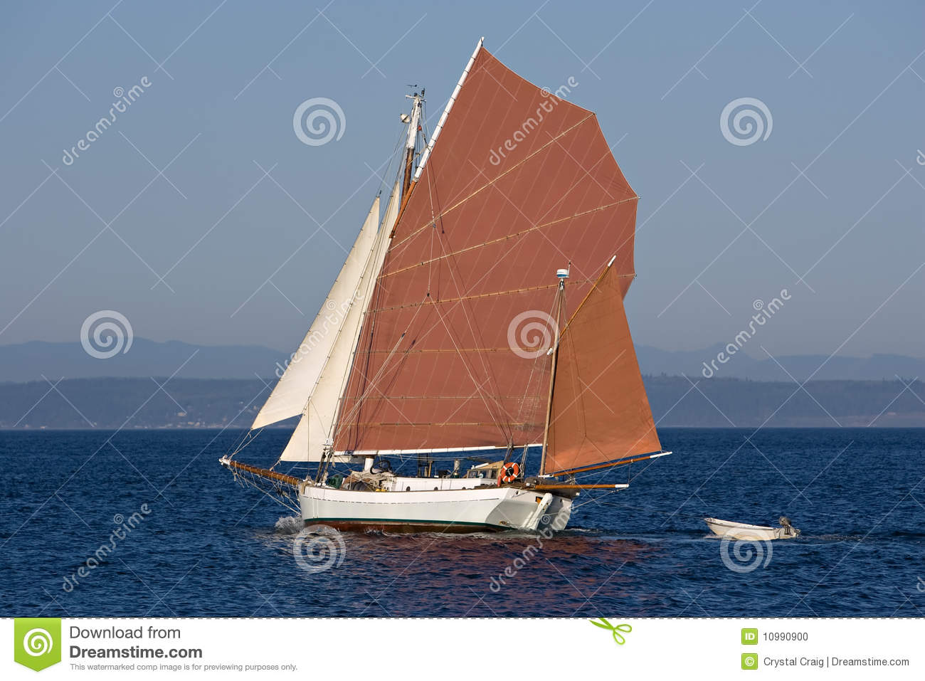 Gaff Rigged Red Tanbark Ketch Sailboat Stock Photo 10990900 - Megapixl