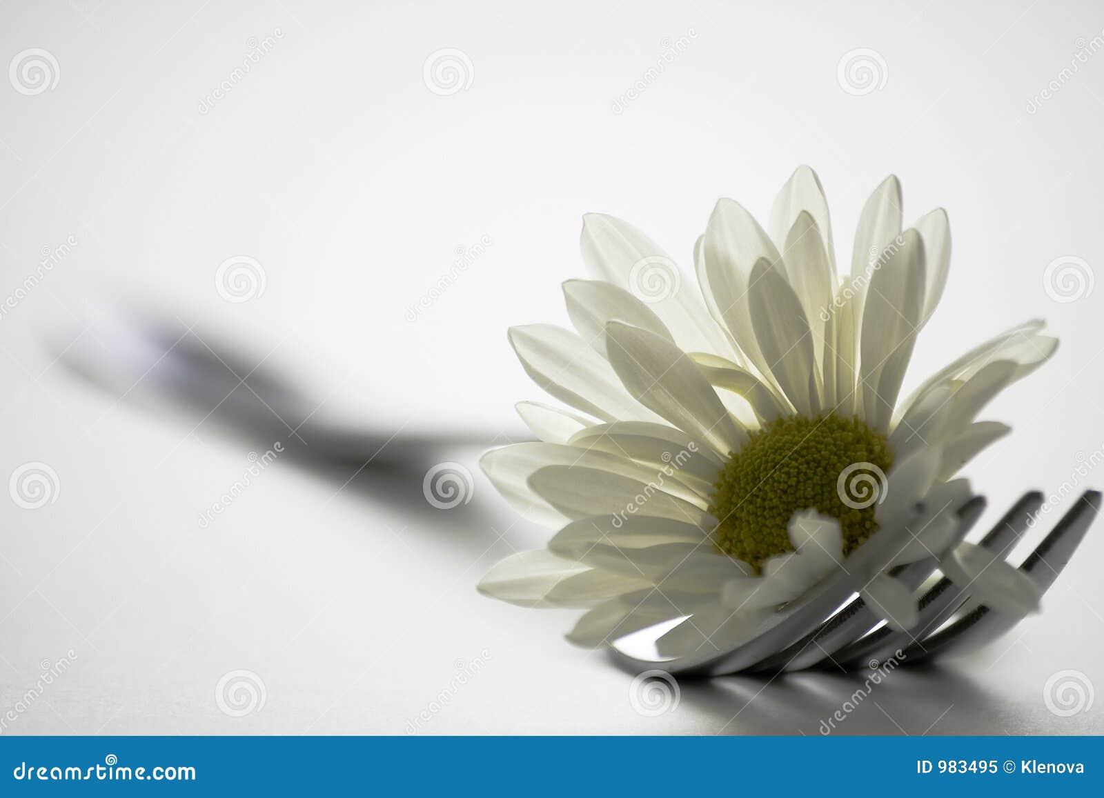 Gaffel och blomma