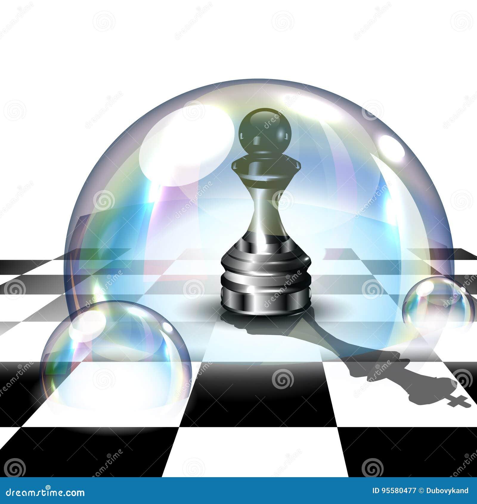 Gage d échecs dans la bulle de savon illustration du vecteur 3d