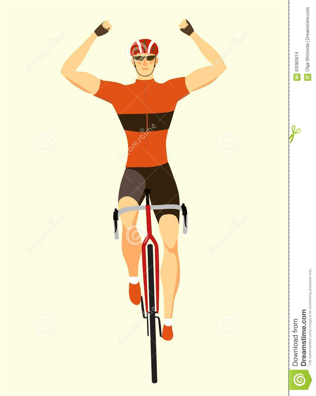 Download Gagnant Emballant Le Cycliste Illustration Stock - Illustration du concurrence, action: 63080914