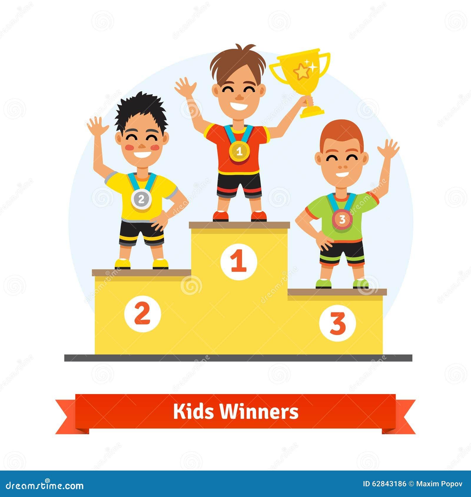 Gagnants de sport d 39 enfants se tenant sur le podium - Dessin podium ...