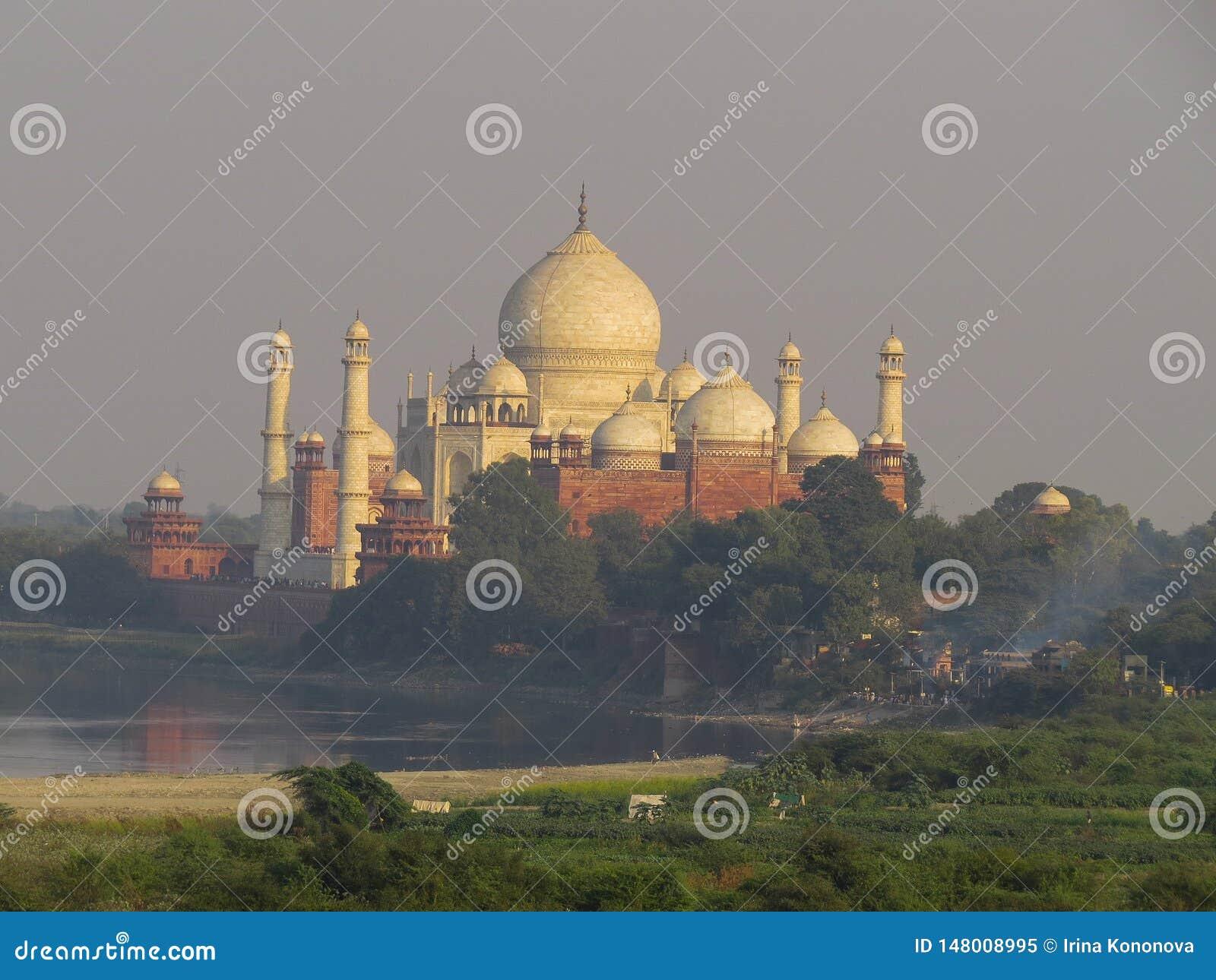 Gagra Indien, November 21, 2013 Taj Mahal är en härlig vit marmorerar mausoleet Sikt från fort