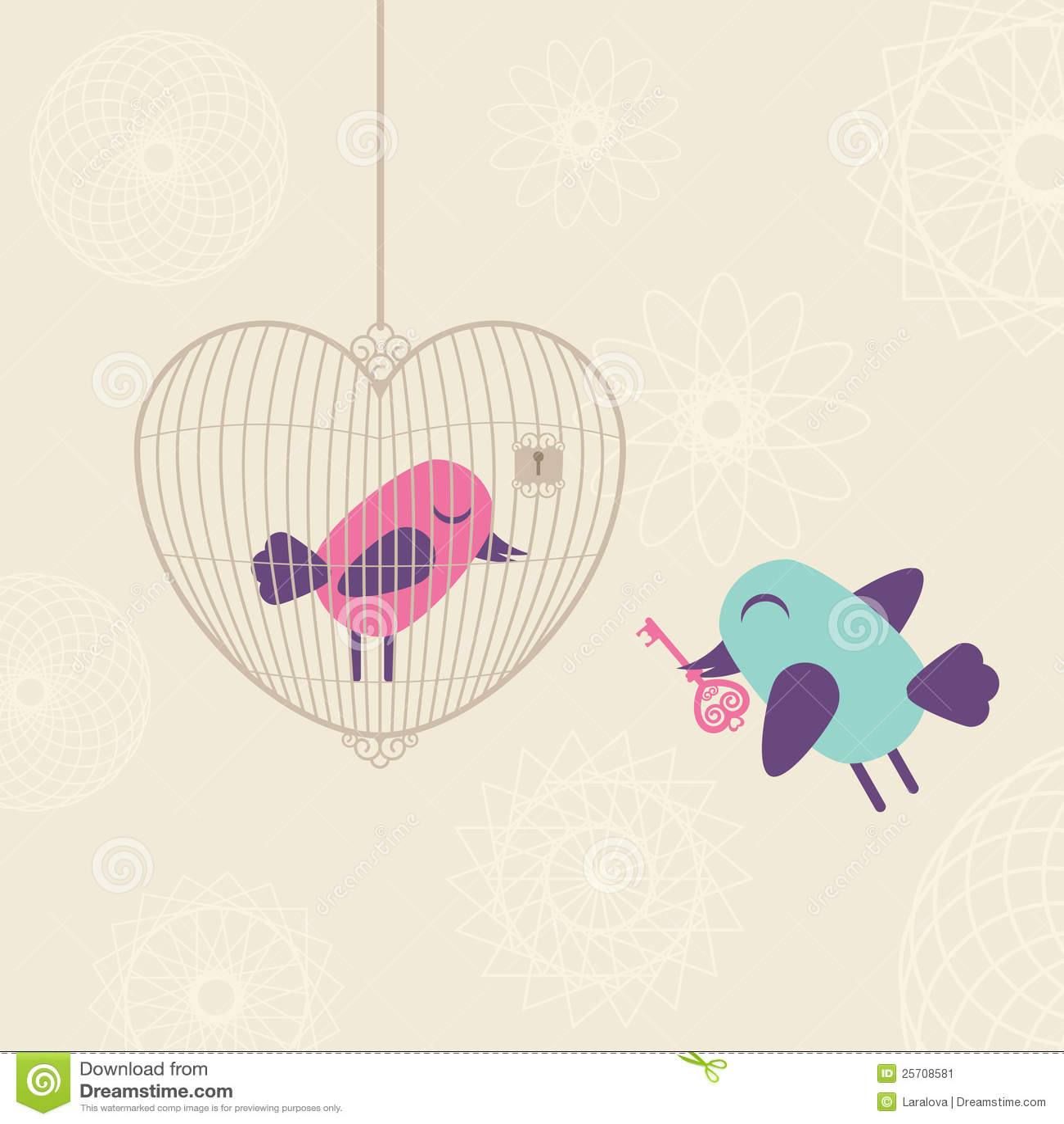 Gaiola Do Amor Com P 225 Ssaros Imagem De Stock Imagem 25708581