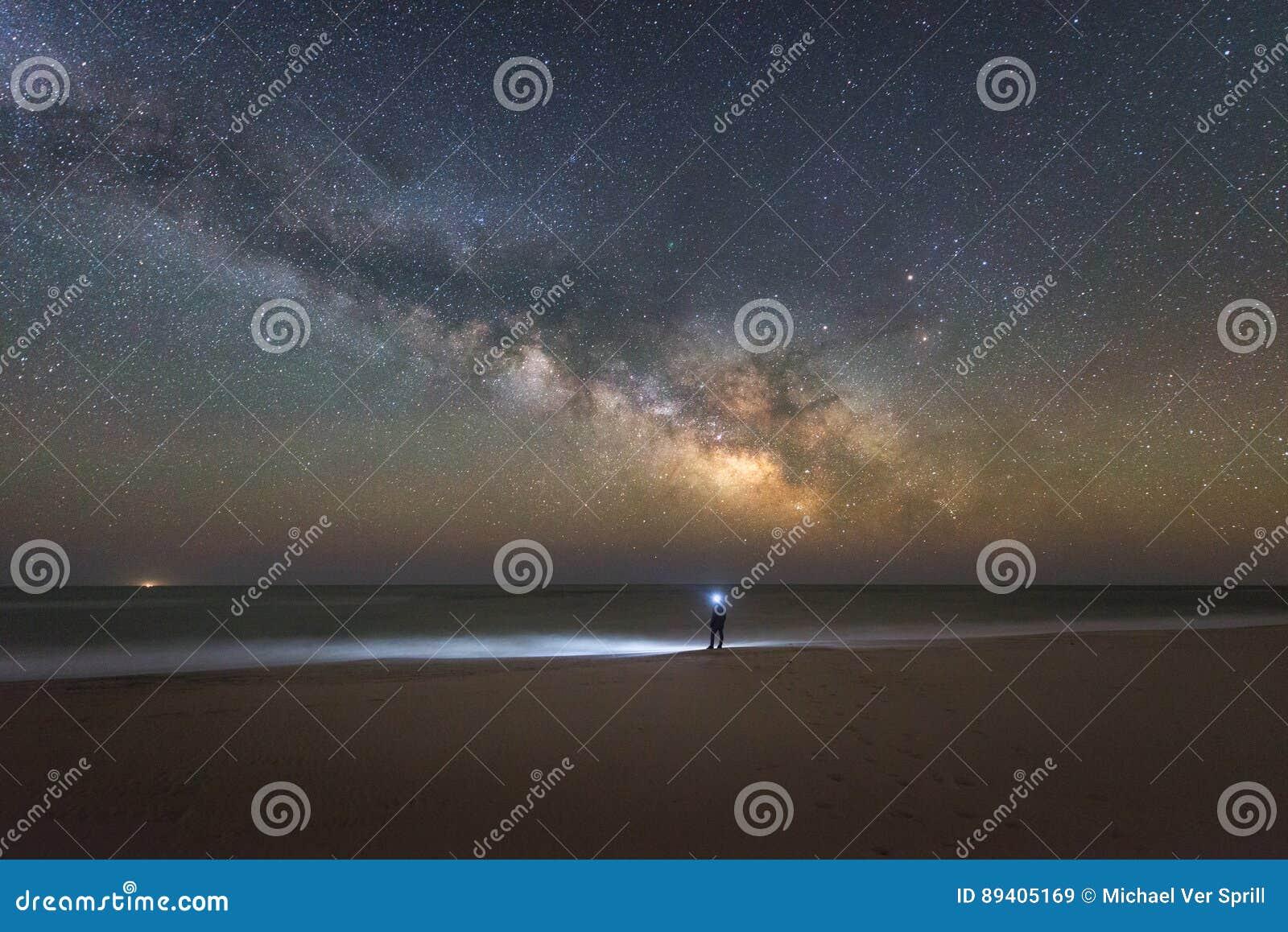 Galáxia da Via Látea que aumenta sobre a ilha de Assateague
