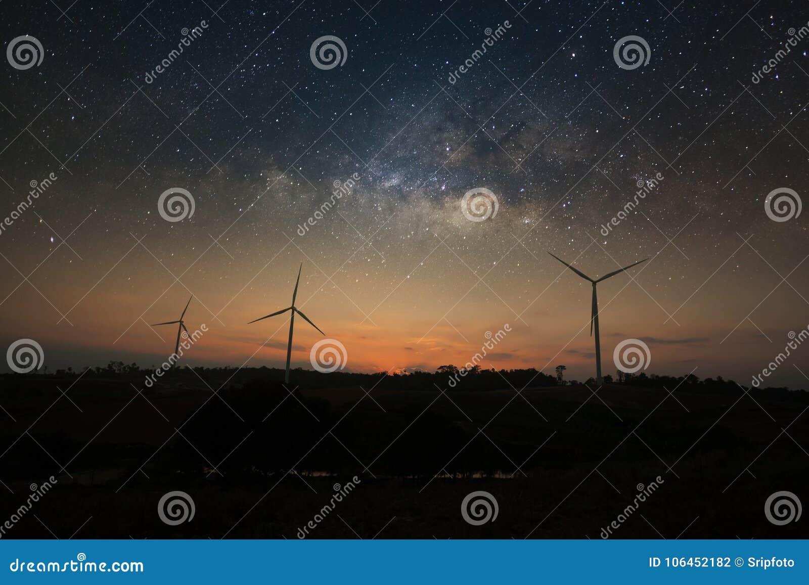 Galáxia da Via Látea sobre a energia limpa da turbina eólica