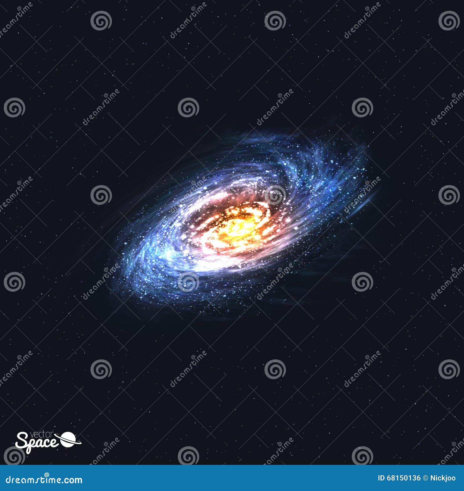 Galáxia espiral realística colorida no fundo do espaço Ilustração do vetor