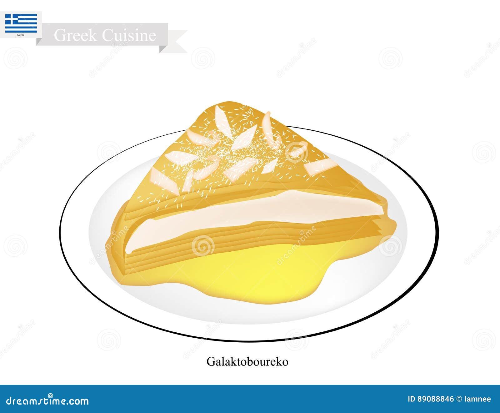 Galaktoboureko eller grekisk ostbakelse med vaniljsås