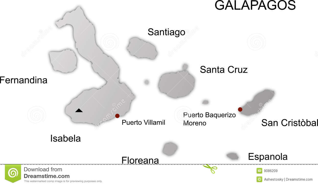 Galapagos Islands Map Black And White