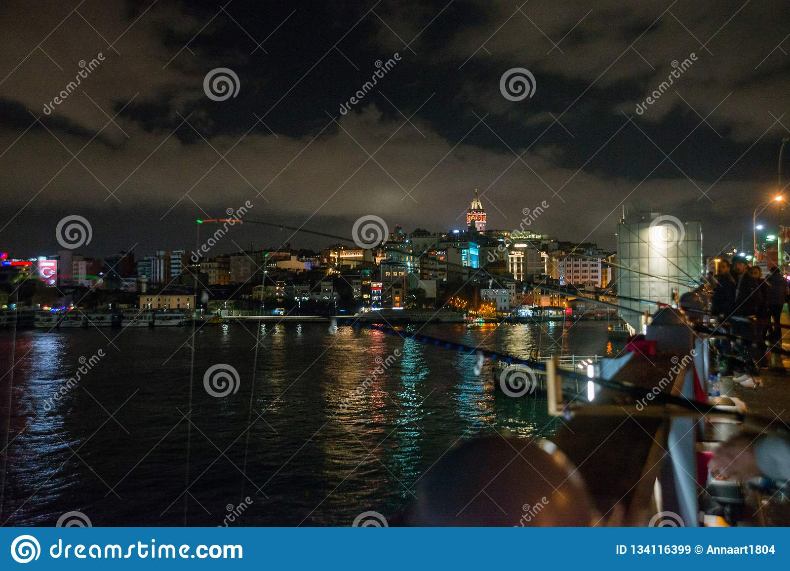 Galata or Beyoglu district of Istanbul at night, Turkey. This is one of the main tourist places in Istanbul. Beautiful panorama of