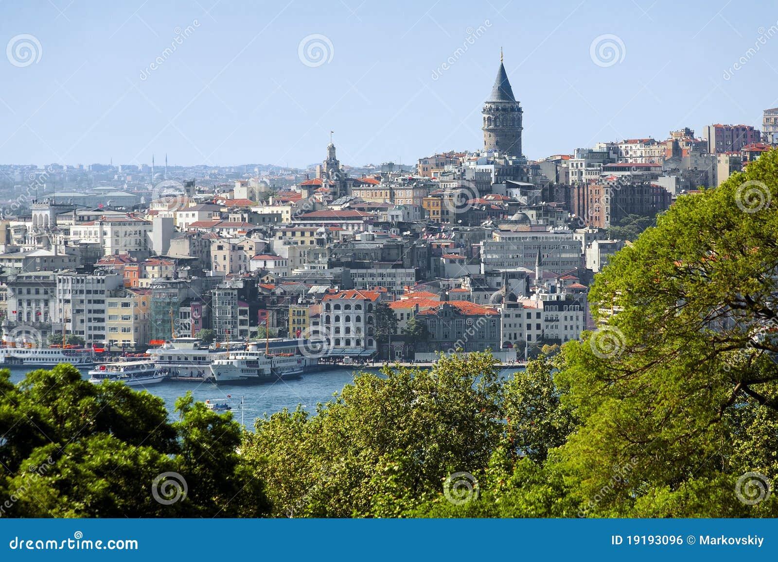 Galata Tower and district Beyoglu in Istanbul