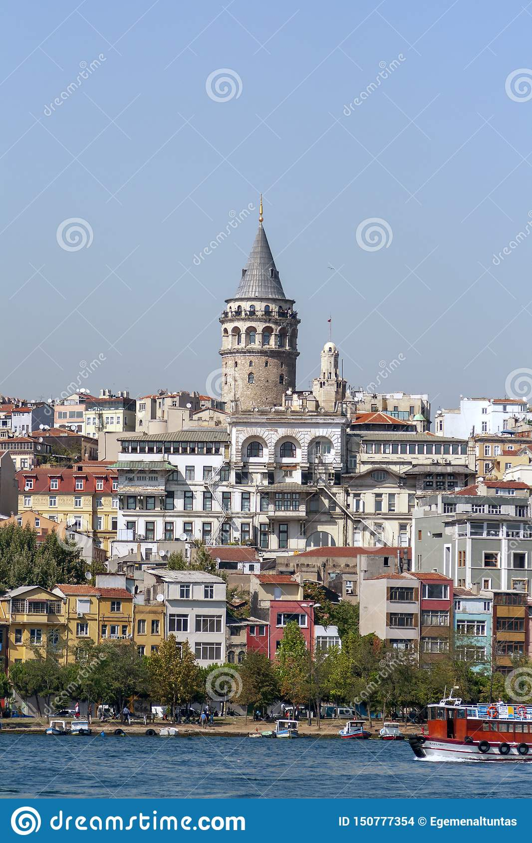 Cityscape with Galata Tower and Gulf of the Golden Horn in Istanbul,