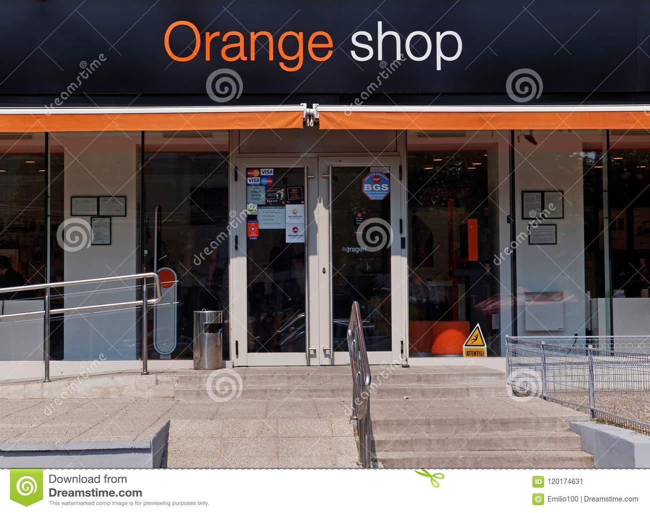Orange Shop In Galati, Romania Editorial Photo - Image of