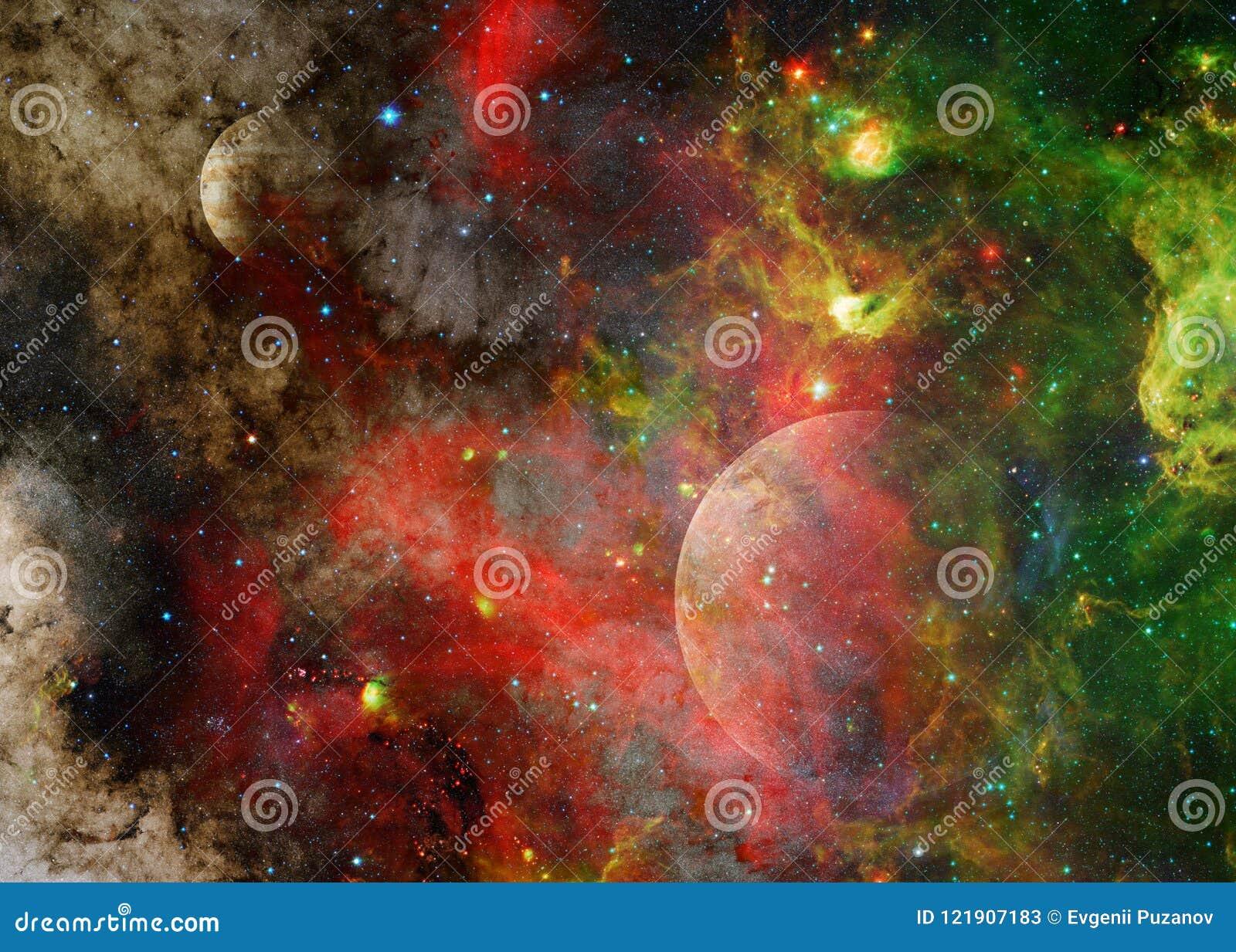 Galax och planet i yttre rymd Beståndsdelar av denna avbildar möblerat av NASA