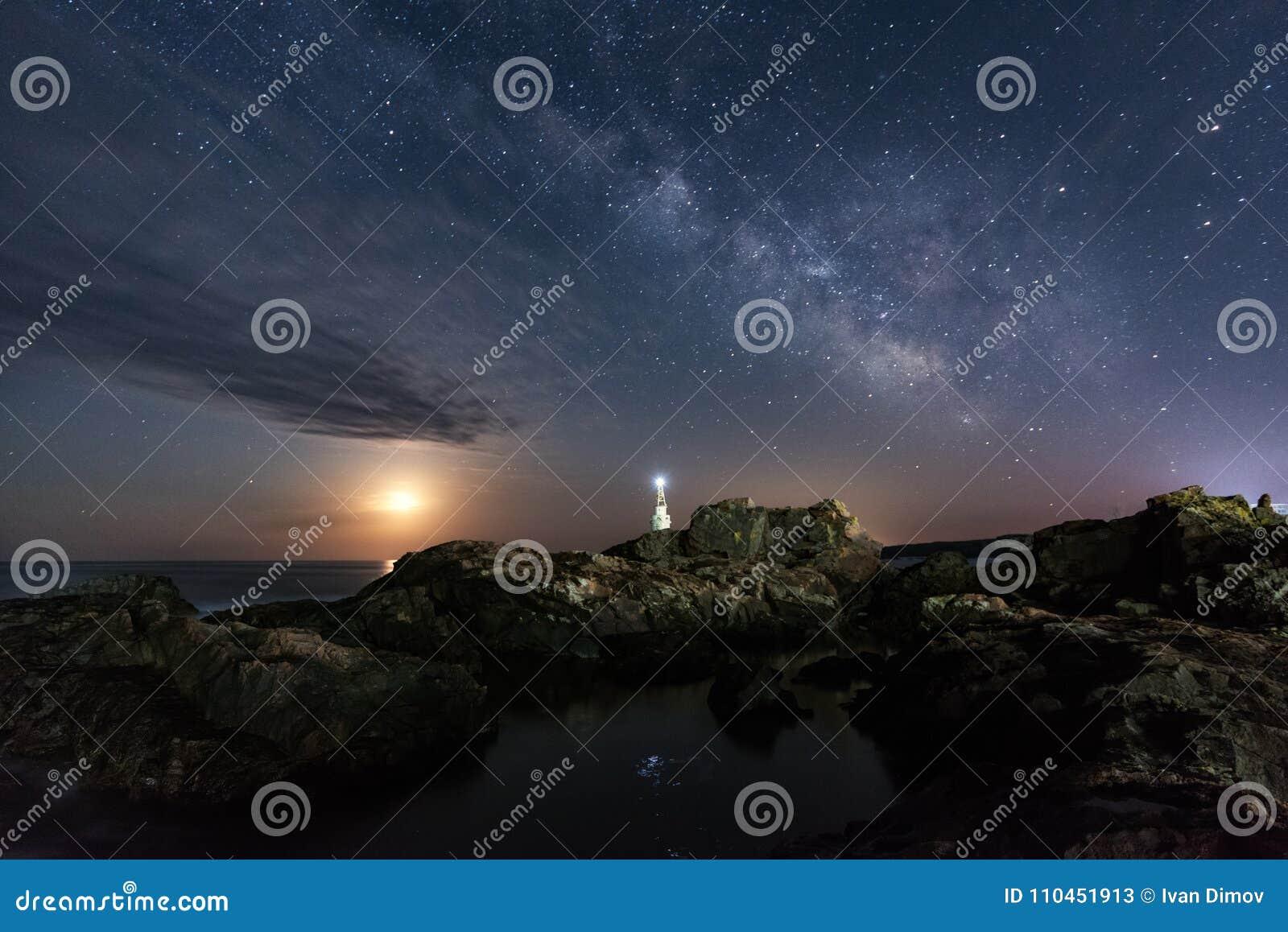 Galaxen och månen över fyren