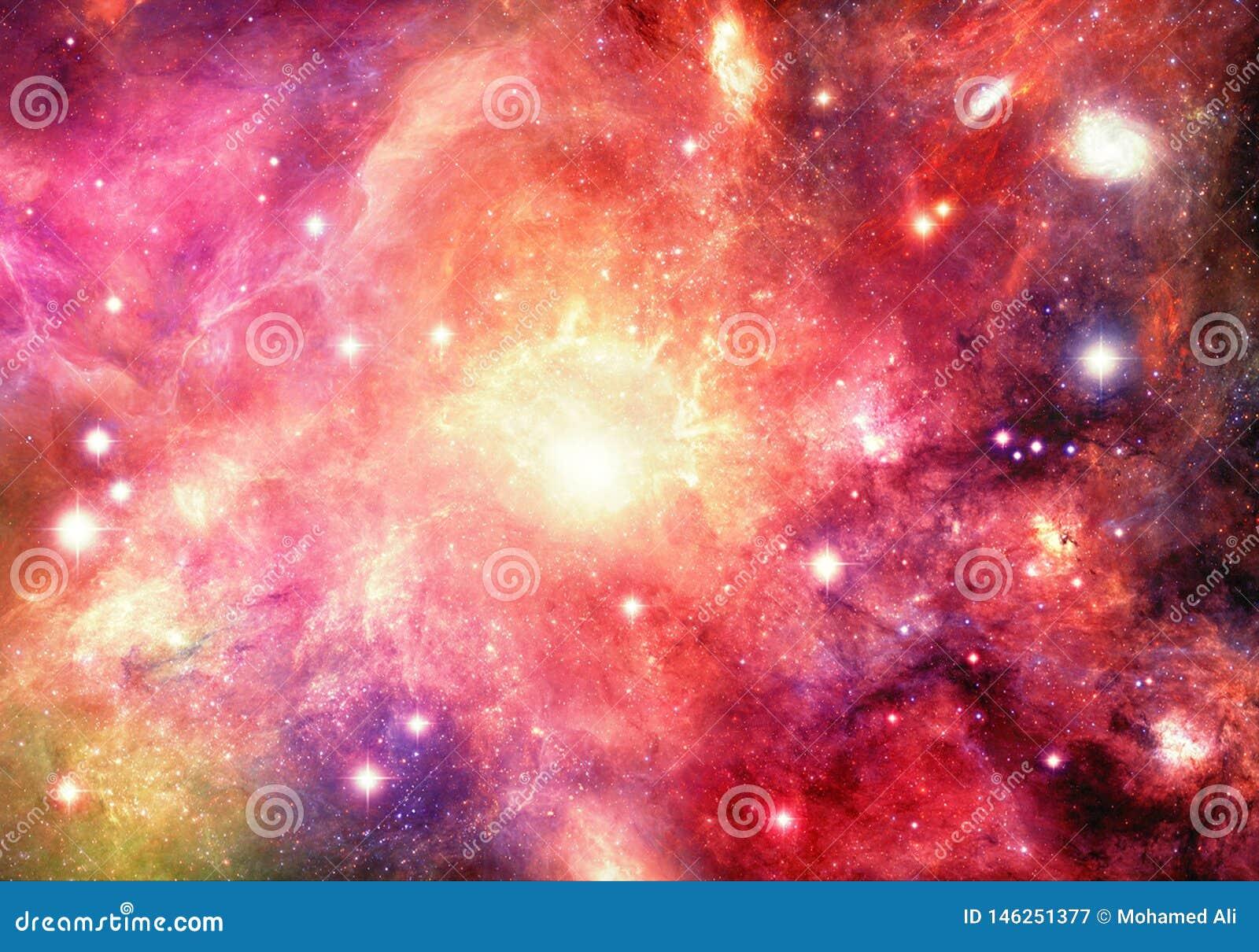 Galaxia multicolora de la nebulosa del extracto artístico que brilla intensamente en ilustraciones del espacio profundo
