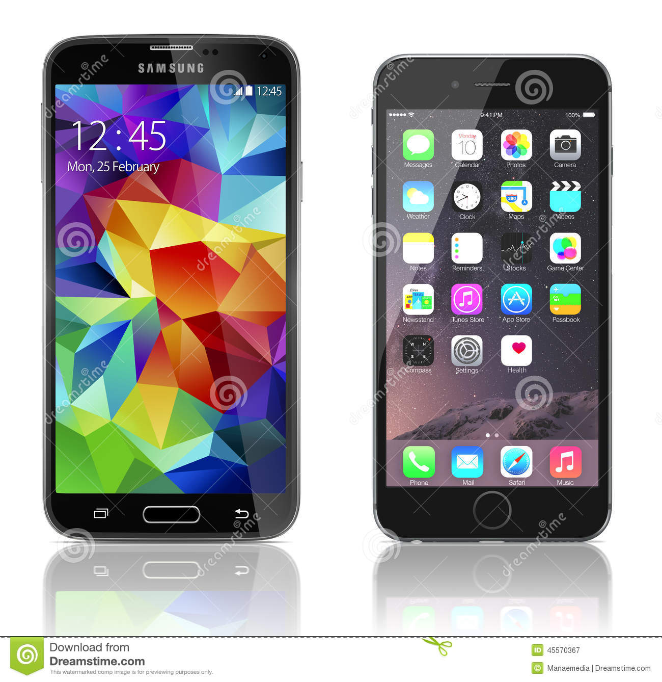 Galaxia S5 de Samsung contra el iPhone 6 de Apple