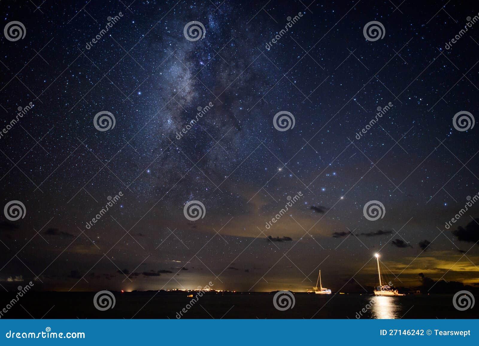 Galaxie de voie laiteuse au-dessus des bateaux à voiles dans les Caraïbe