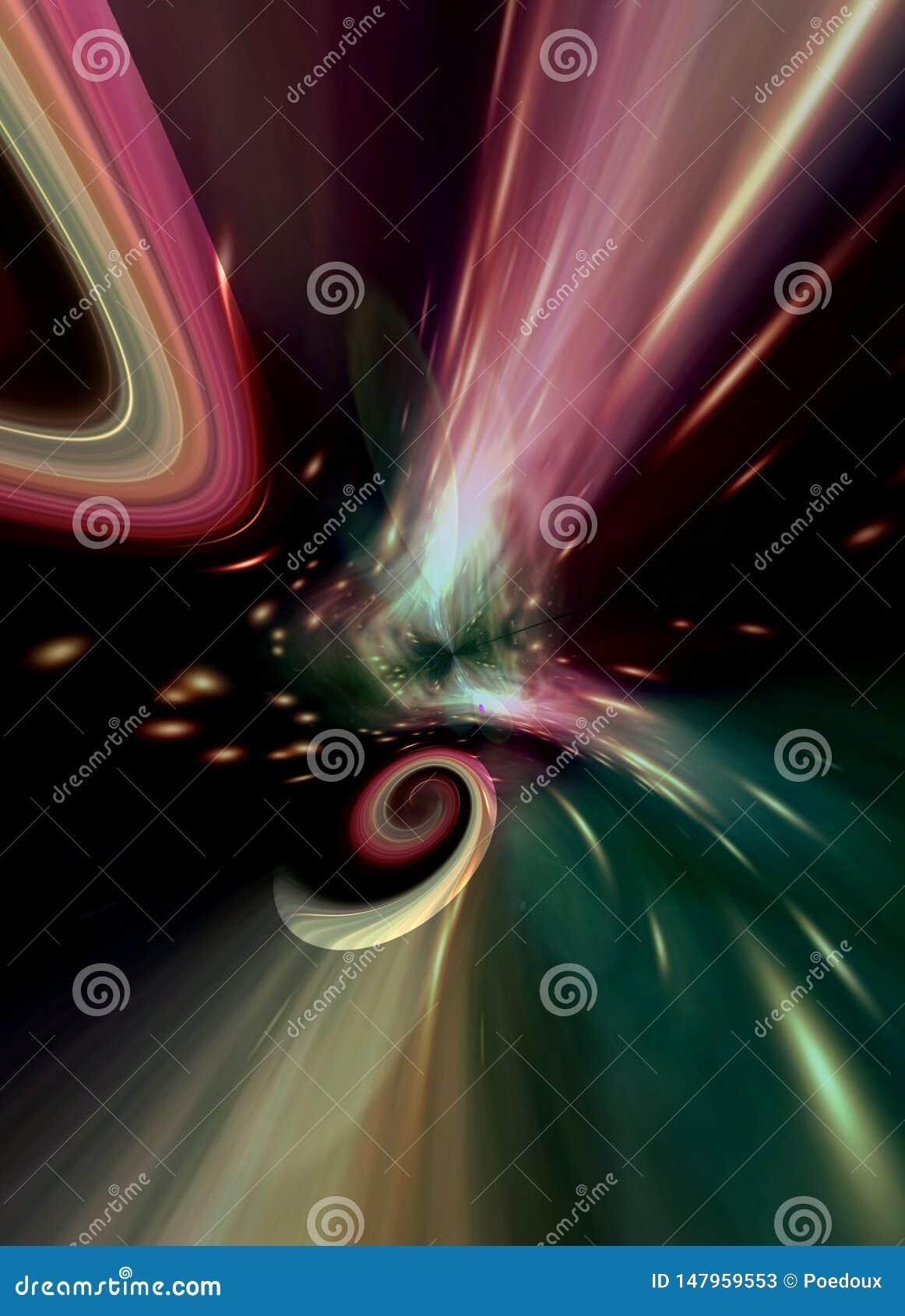 Galaxie en spirale abstraite générée par ordinateur dans des couleurs poétiques