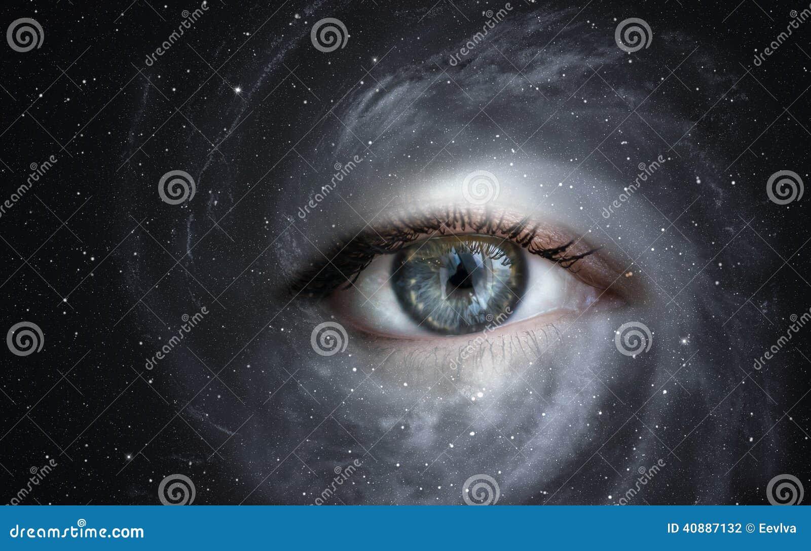 Download Galaxy with eye. stock photo. Image of nebula, sensory - 40887132