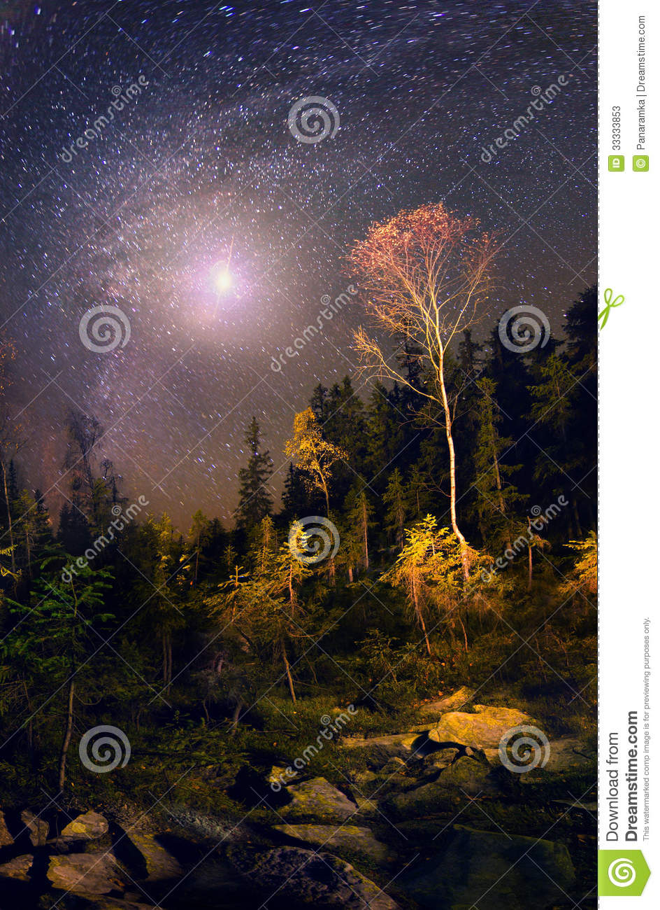 Galaxy And Fall Stock Photos