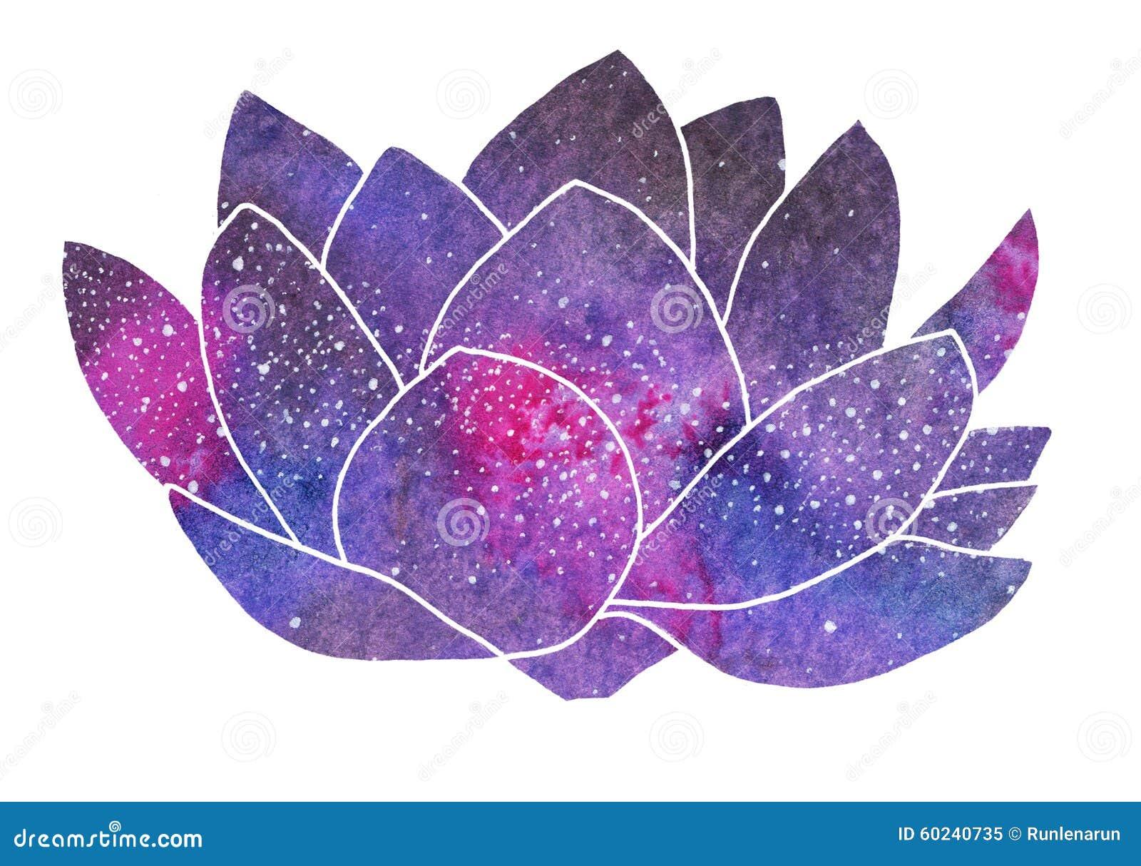 Galaxy lotus. Hand-drawn cosmic flower