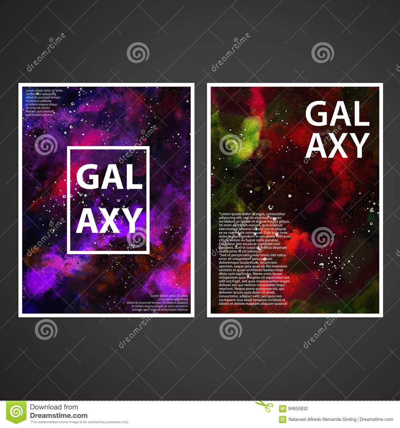 Galaxy Painted Texture Poster Covers Design Set Vector Stock