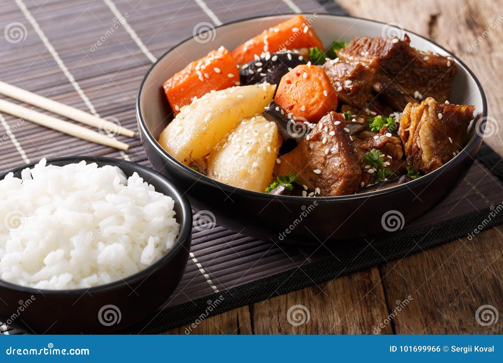 Galbi jjim eller Kalbi Jim - korean bräserade korta stöd för nötkött med ri