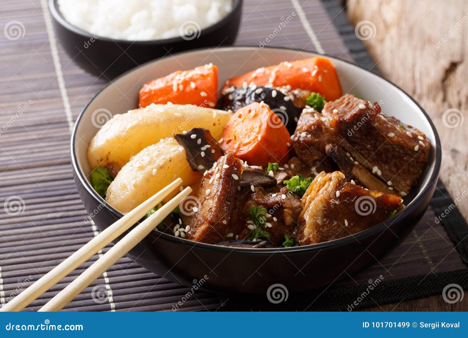 Galbi jjim Korean Braised Beef Short Ribs with rice close-up. Ho