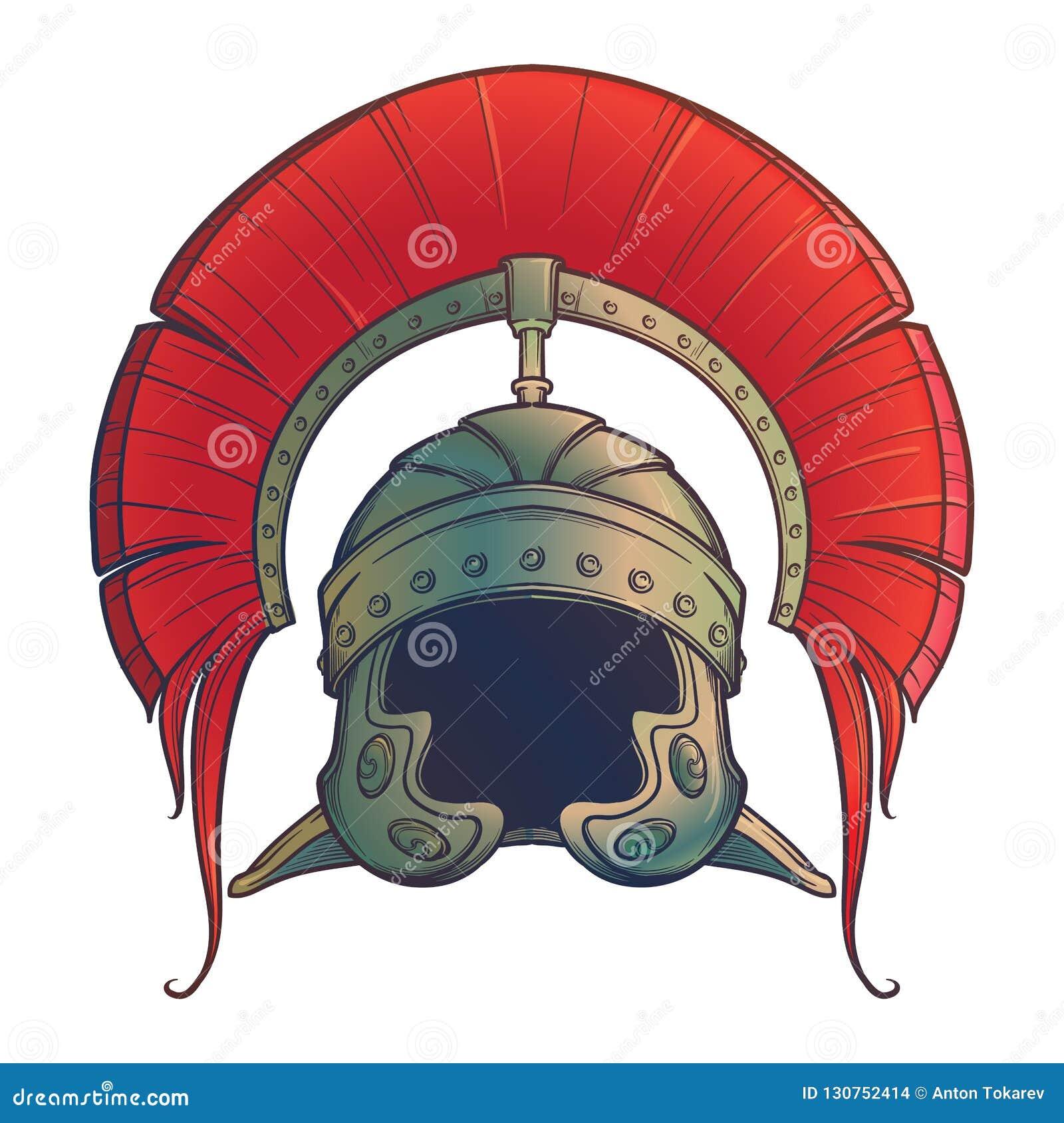 Galea Romański Cesarski hełm z grzebieniem tipically będącym ubranym centurionem Frontowy widok