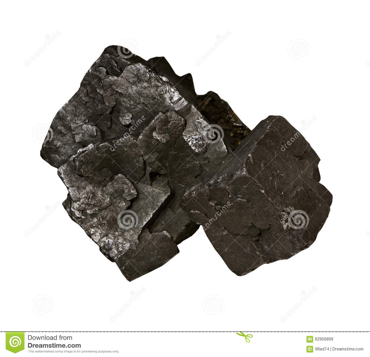 Galena, ore of lead on white background isolated