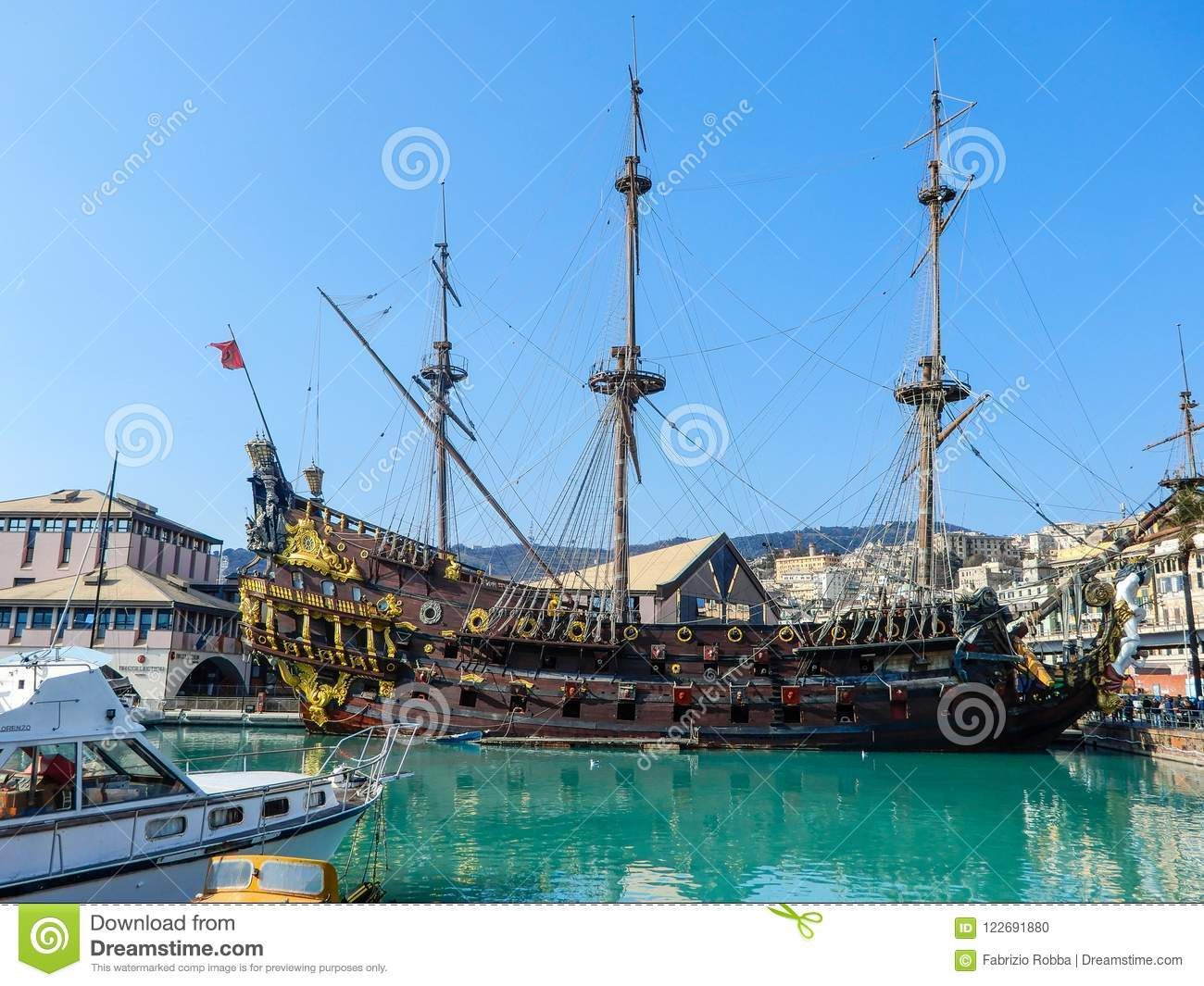 Galeone Neptune pirate ship in Genoa Porto Antico Old harbor, Italy.