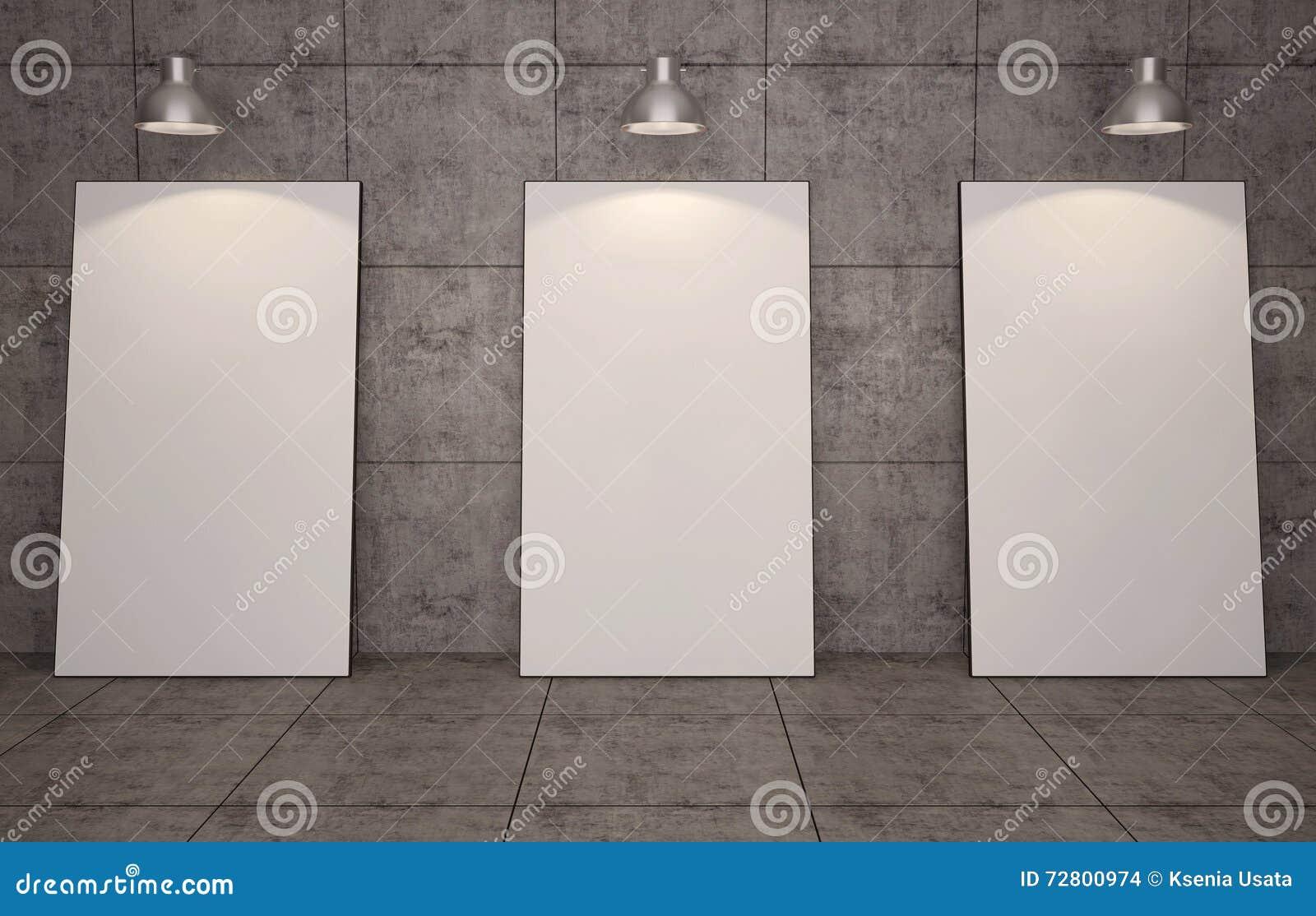 Galería De Arte Marcos En Blanco En Fondo De La Pared De Ladrillo ...