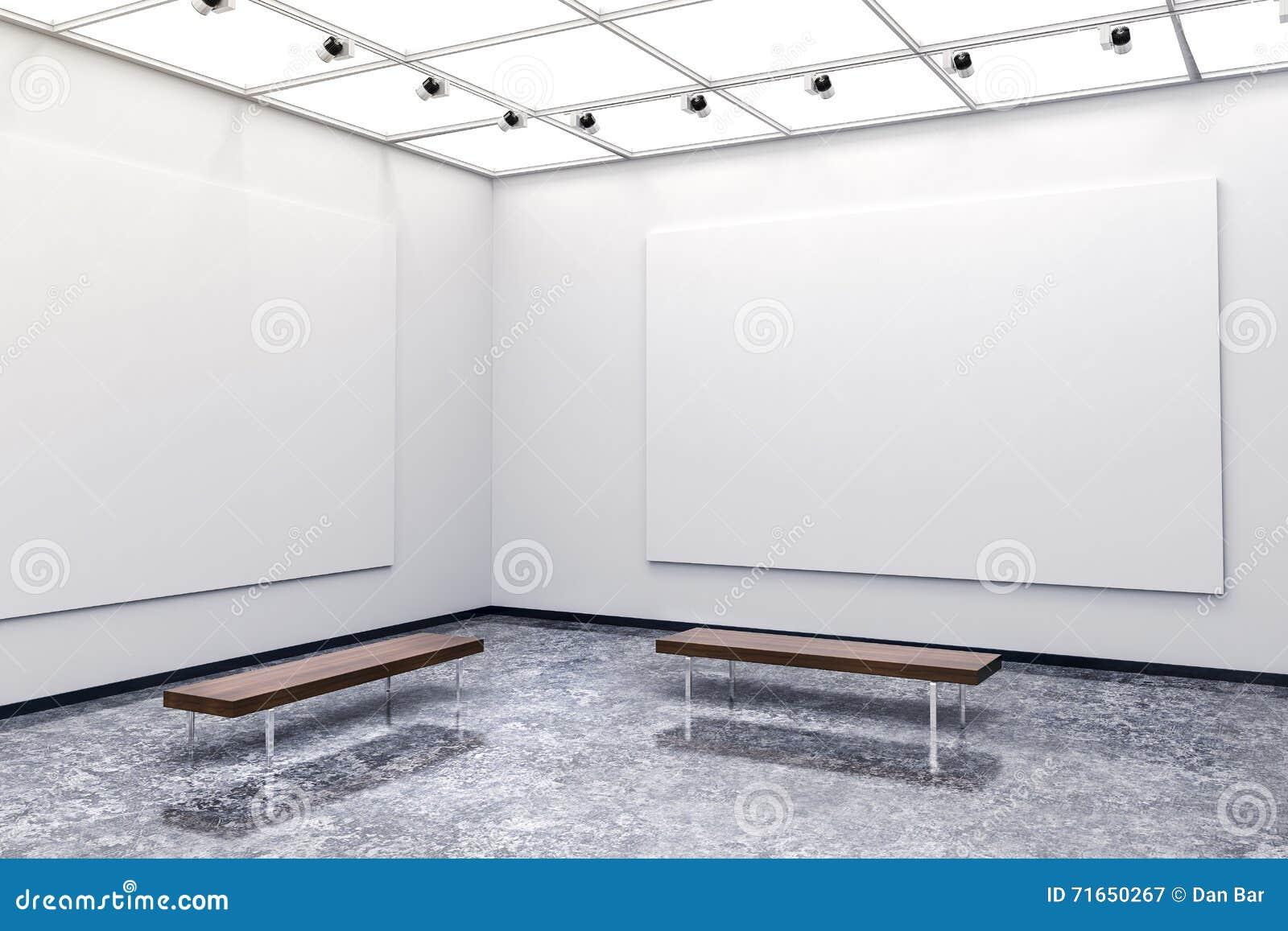 Galería interior moderna 3d con las paredes y la lona blancas
