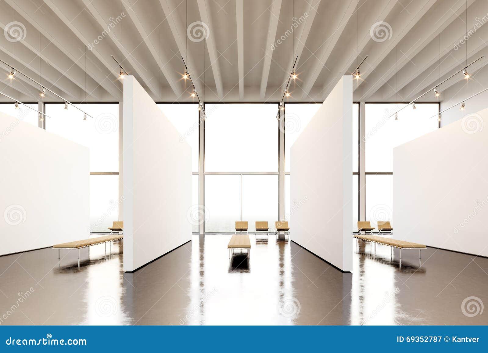 galerie moderne de l espace d exposition de photo toile vide blanche vide accrochant le mus 233 e d