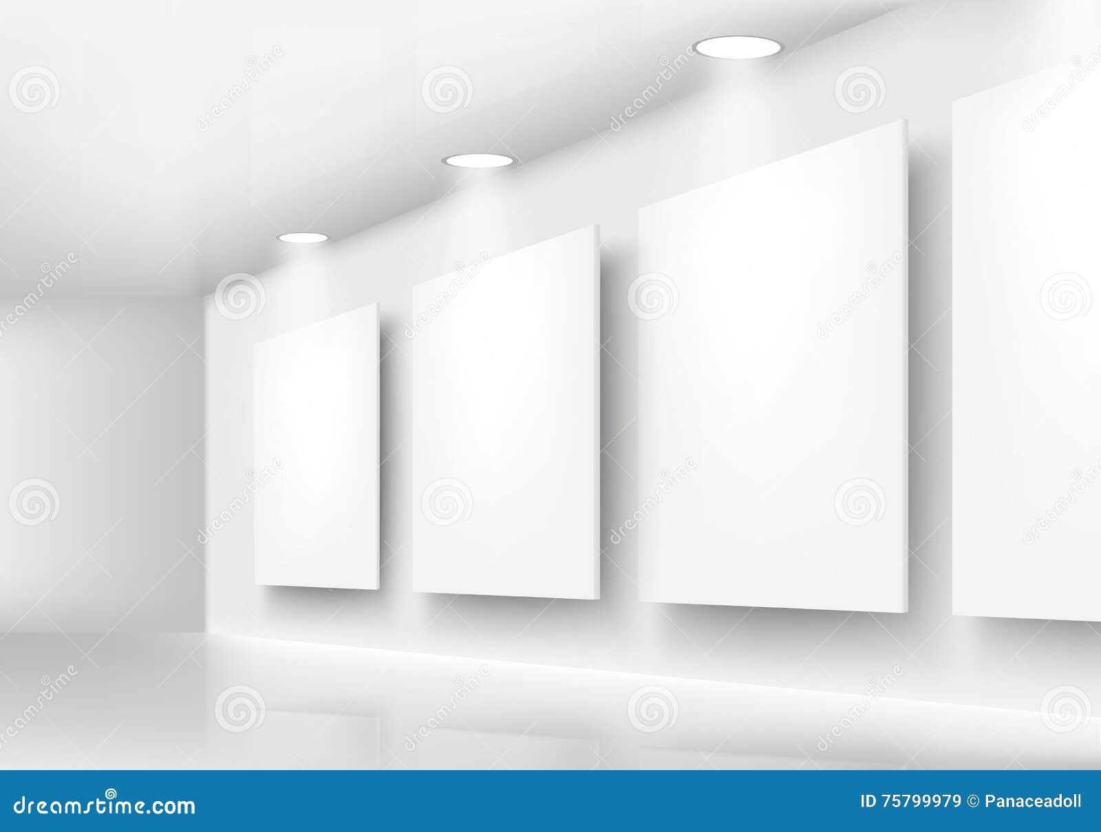 Download Galerie Von Leeren Rahmen Auf Wand Mit Beleuchtung Stock Abbildung    Illustration Von Auslegung,
