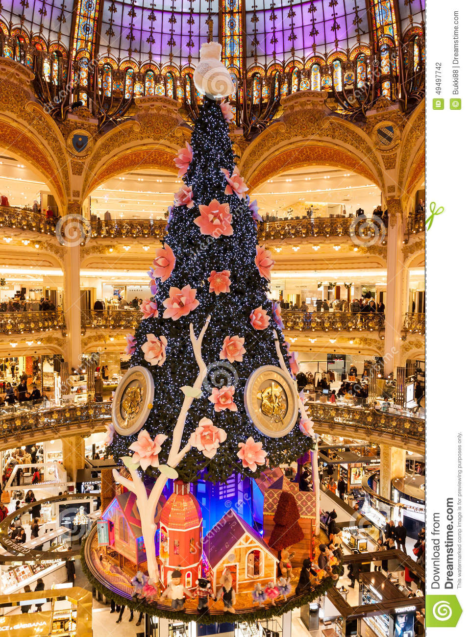 Christmas Paris France.Galeries Lafayette At Christmas In Paris France Editorial