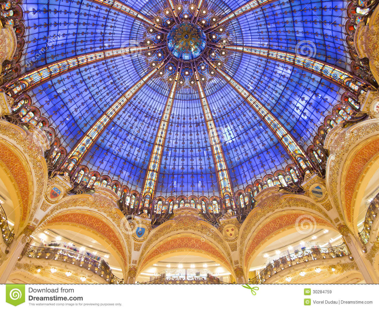 Galeries Lafayette Interior In Paris Royalty Free Stock