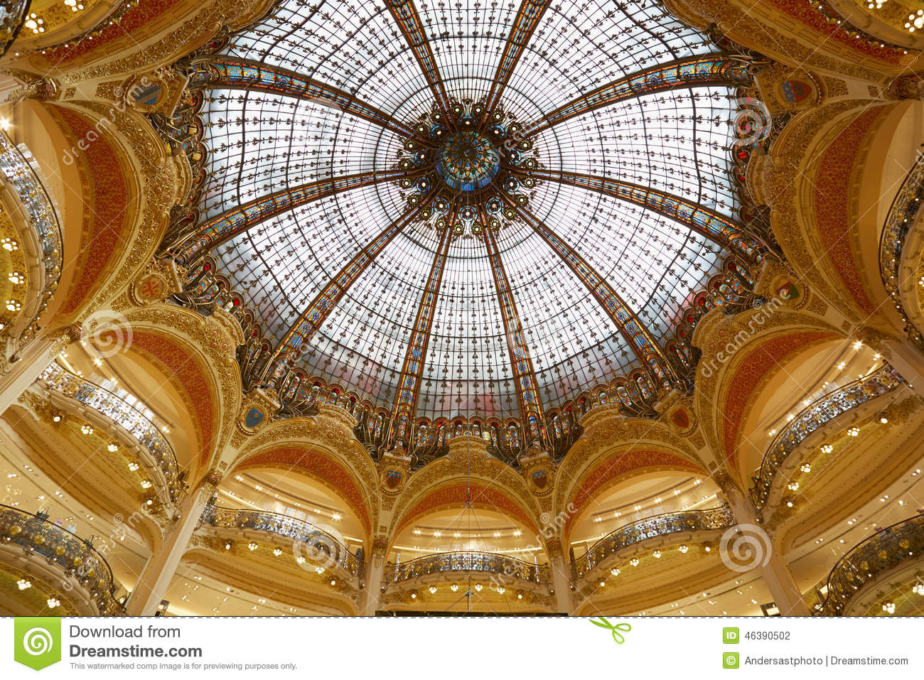 Galeries Lafayette Dome Interior In Paris Editorial