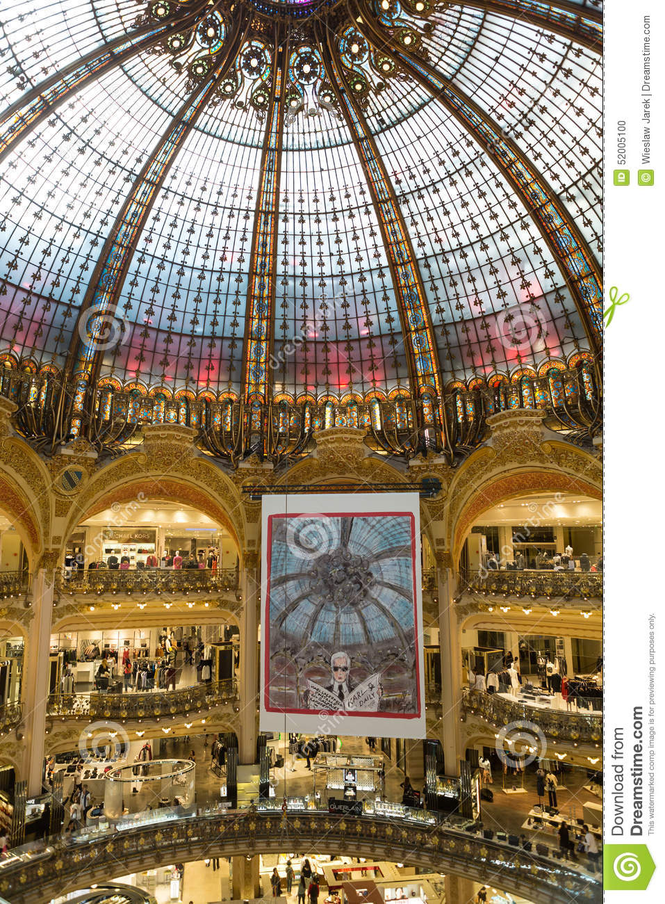 Galeries Lafayette Interior In Paris Editorial Image