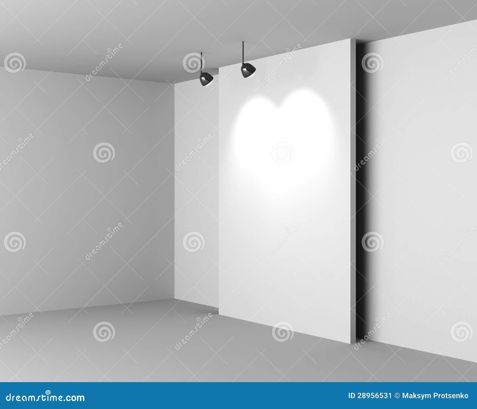 Galerii Biały wnętrze z Pustym biurkiem i lampami