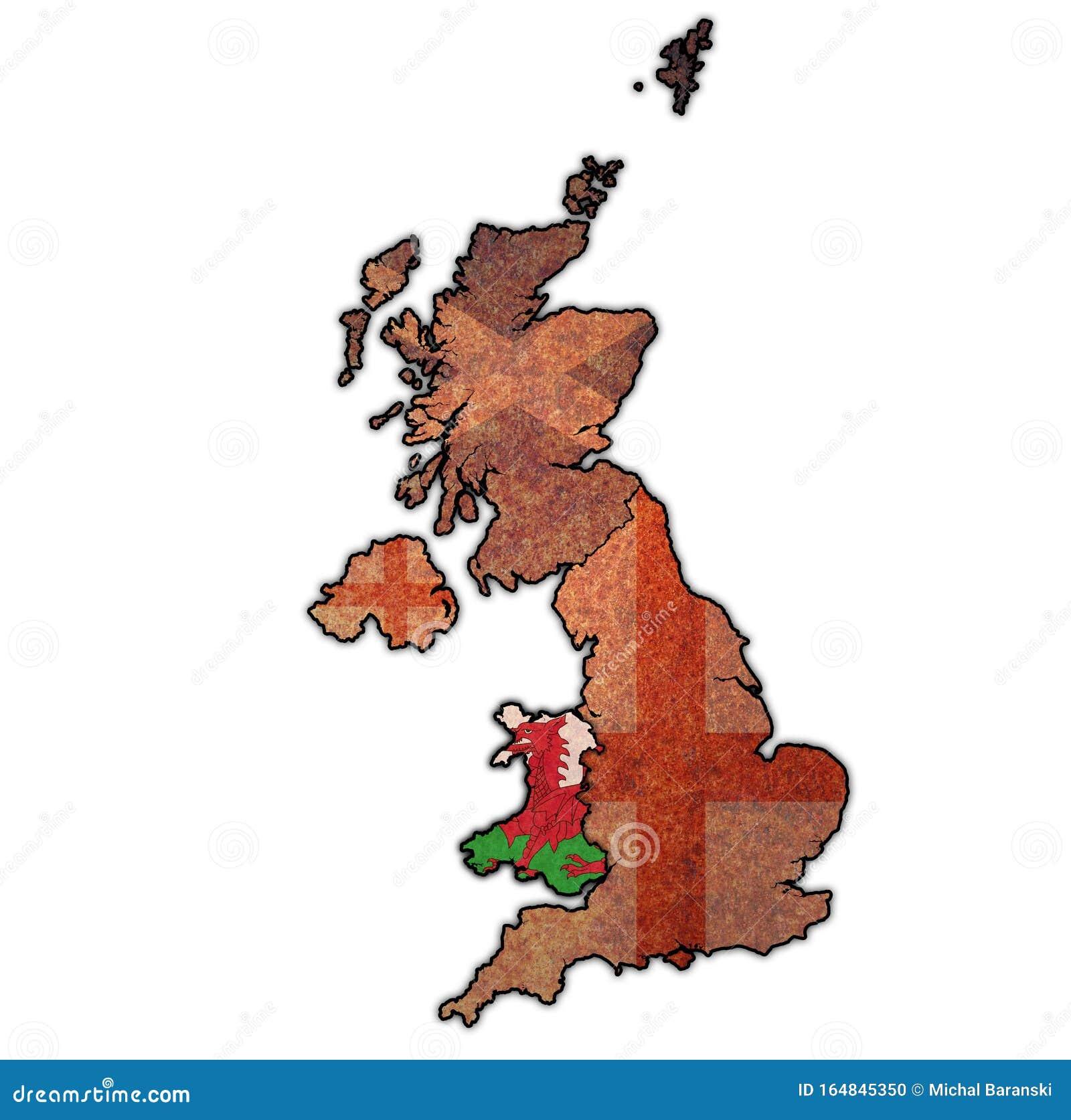 Gales En El Mapa Político Del Reino Unido Stock De Ilustración Ilustración De Indicador Britain 164845350