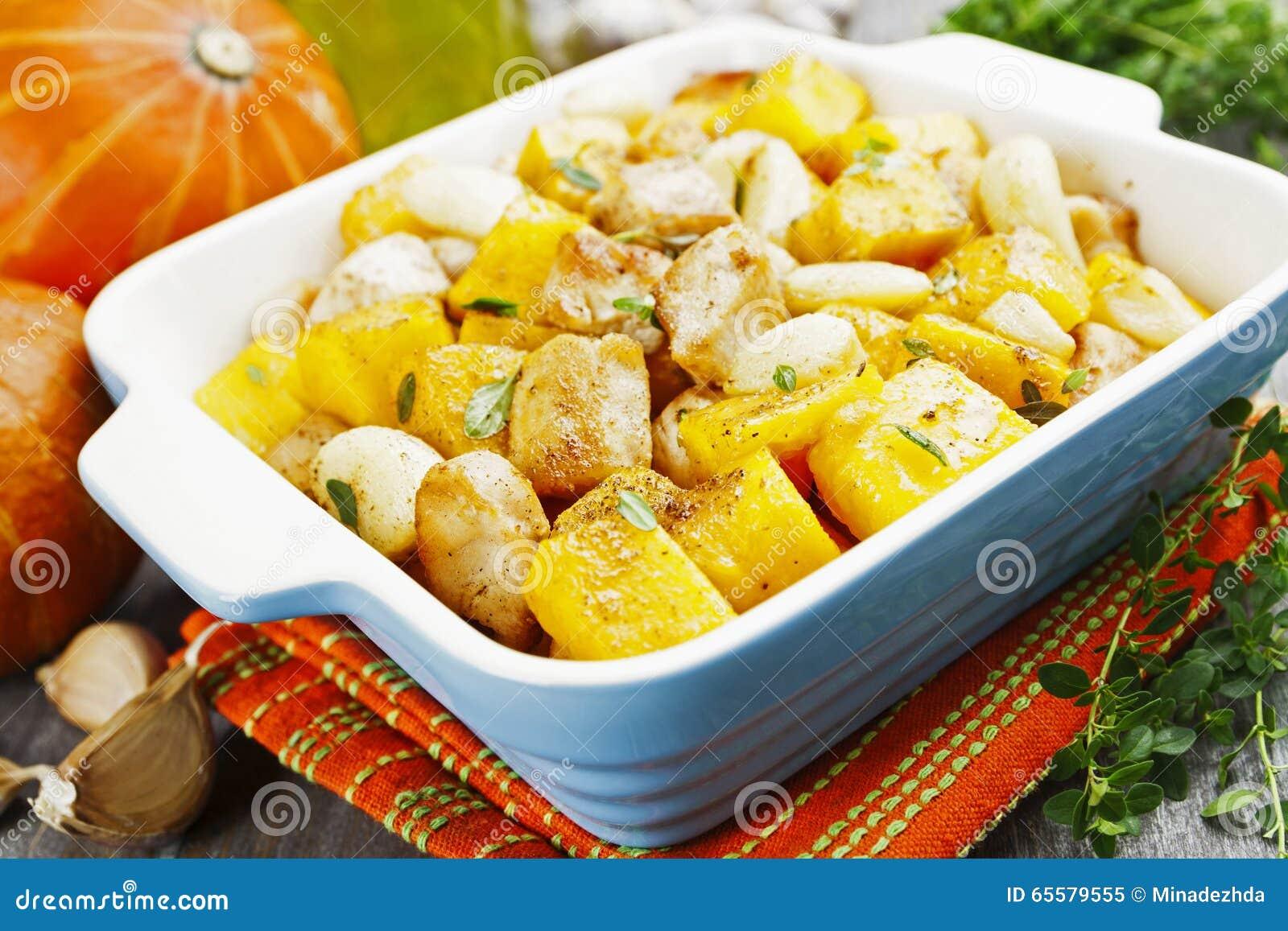Galinha cozida com abóbora