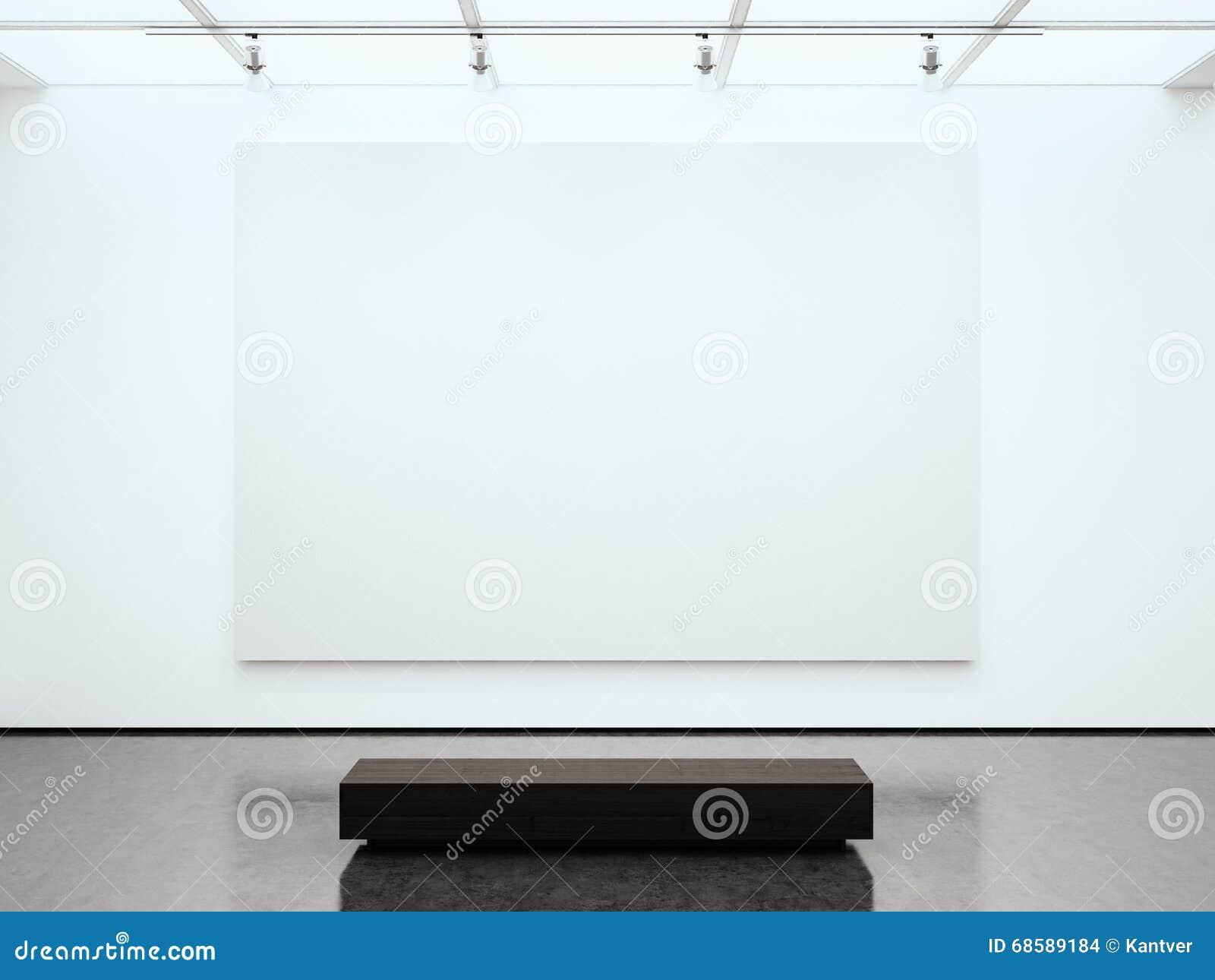 Galleri för tom vit kanfas för foto hållande modernt Modern öppet utrymmeexpo med det konkreta golvet Ställe för affär