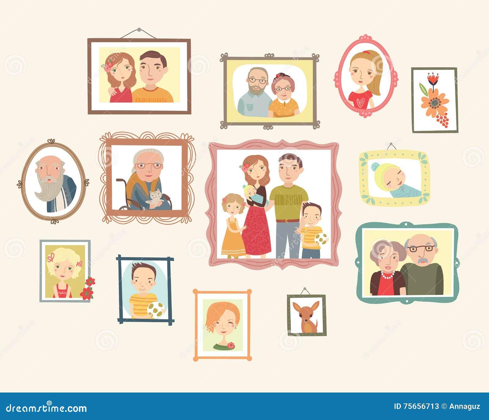 Galleria dei ritratti della famiglia foto sulla parete for Famiglia parete