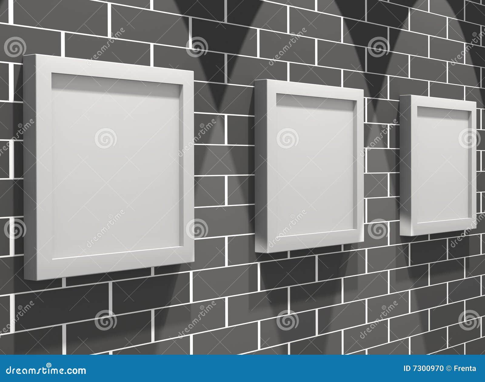 Galleria di maschera 3d su un muro di mattoni