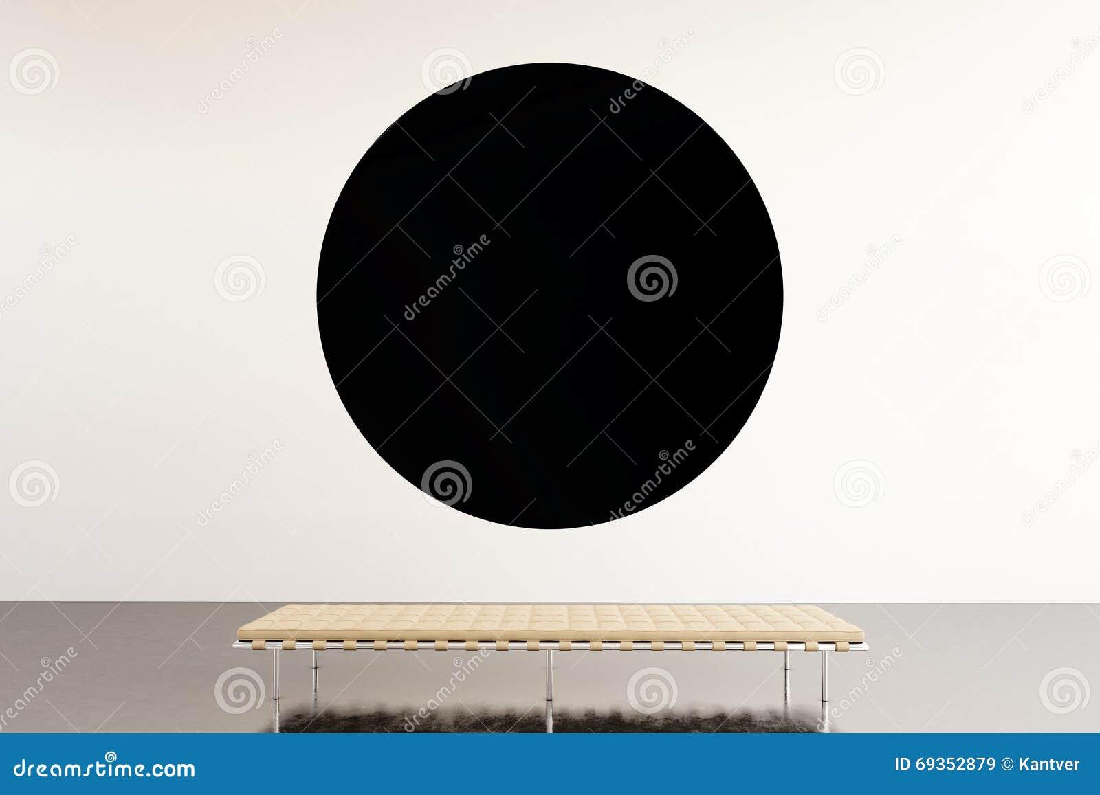 Galleria moderna dello spazio di mostra della foto Museo di arte contemporanea d attaccatura della tela vuota nera rotonda Stile